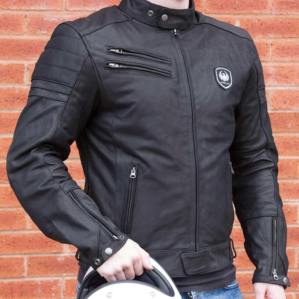 Merlin Alton Leather Jacket in black side detail