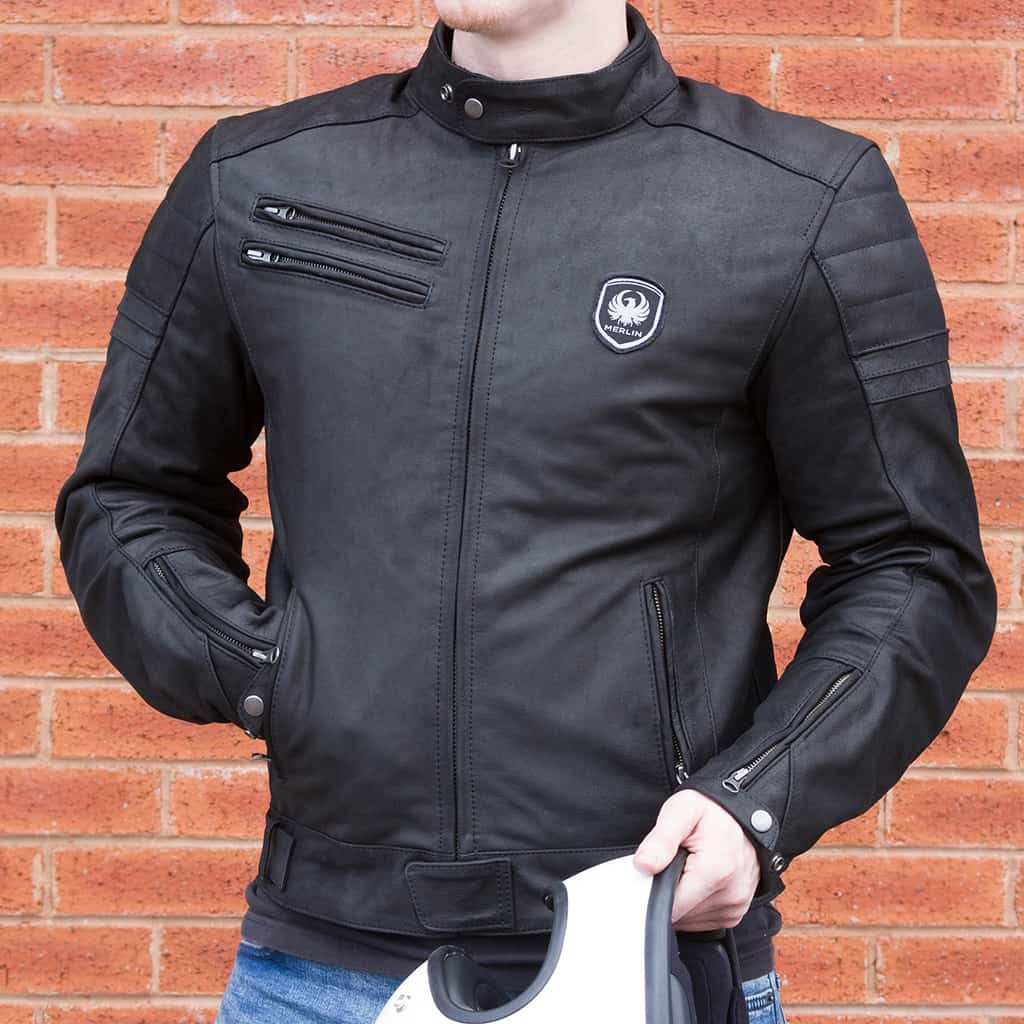 Merlin Alton Leather Jacket in black front detail