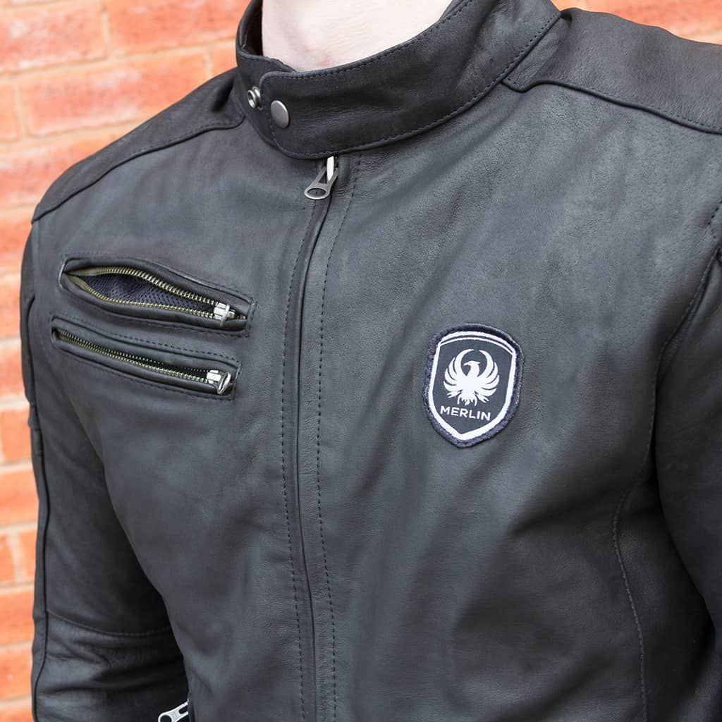 Merlin Alton Leather Jacket in black zipped chest vent