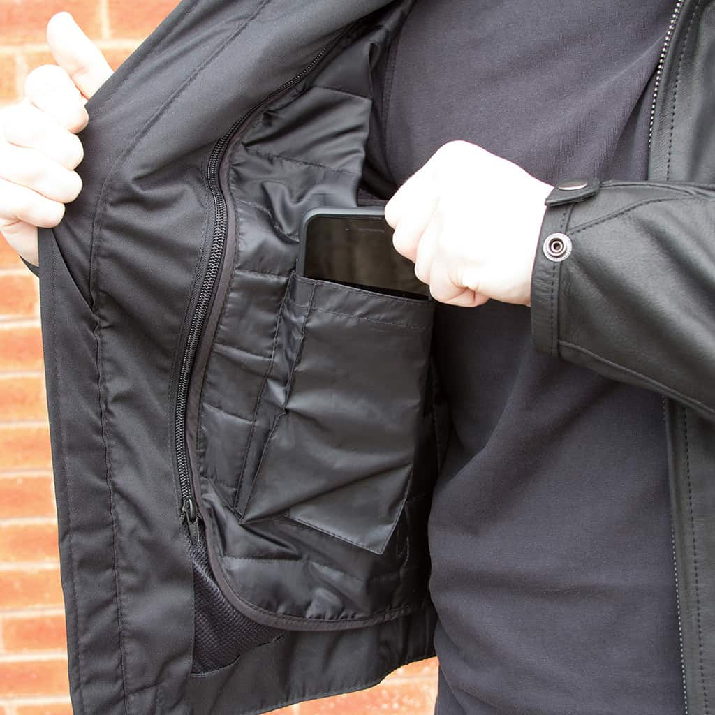 Merlin Alton Leather Jacket in black internal pocket