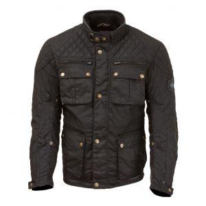 Studio image of Merlin Edale Waxed Cotton motorcycle jacket in black