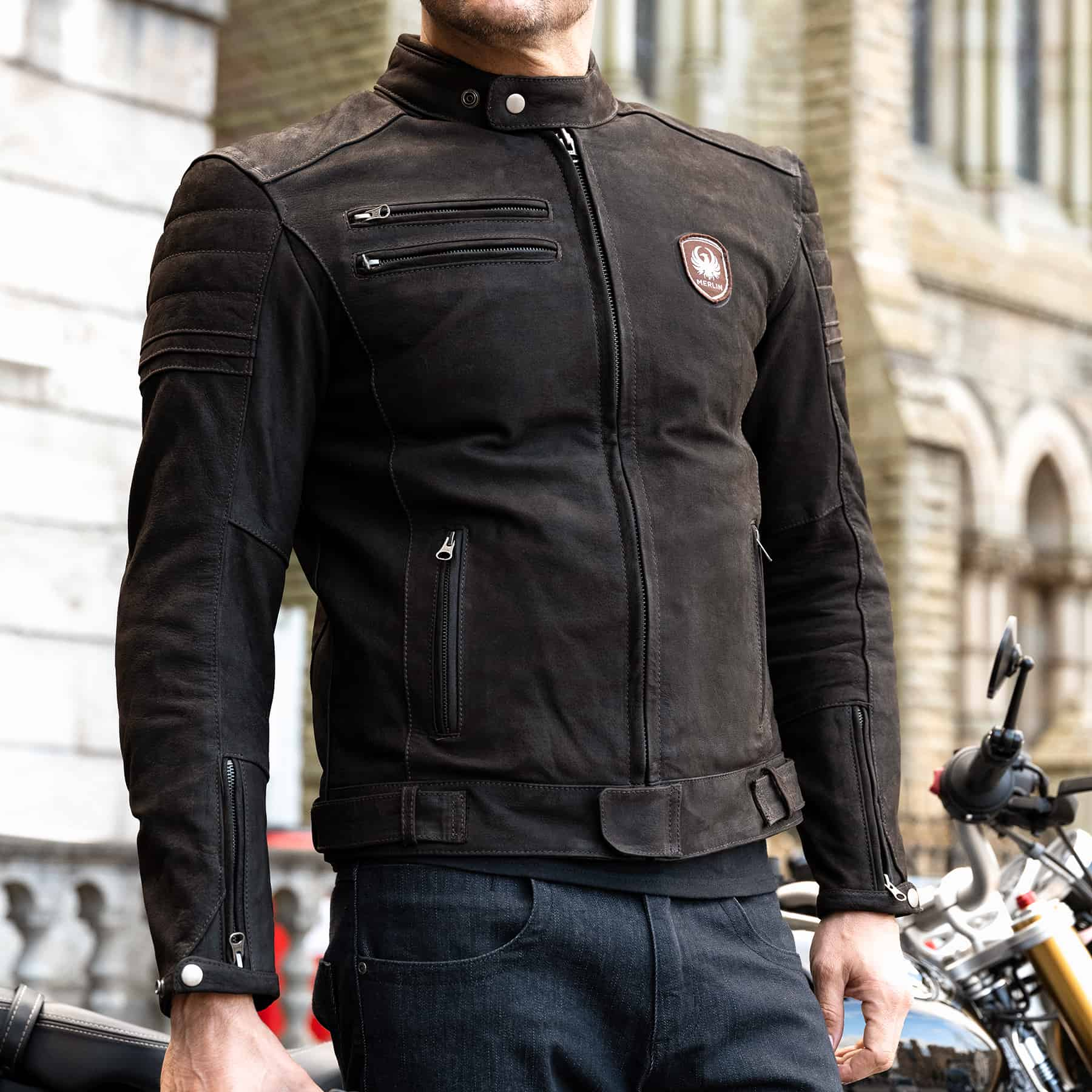 Merlin Alton leather jacket in brown lifestyle image