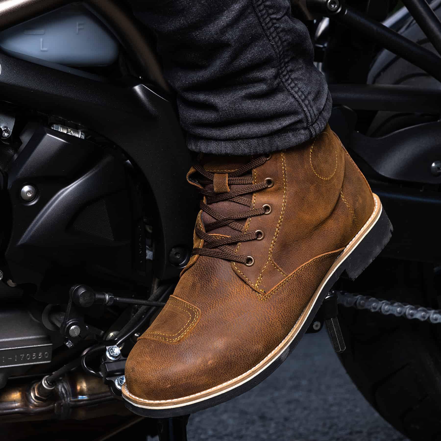 Merlin Ether waterproof heritage motorcycle boots in brown