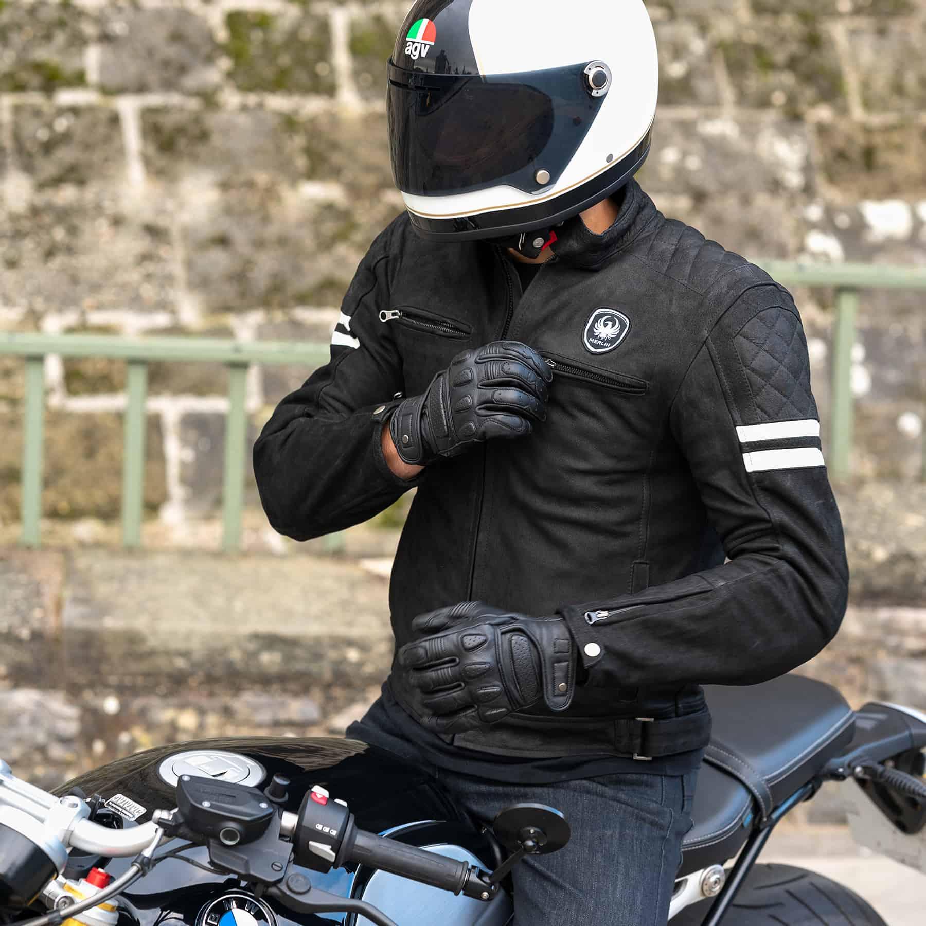 Merlin Hixon leather jacket in black lifestyle image