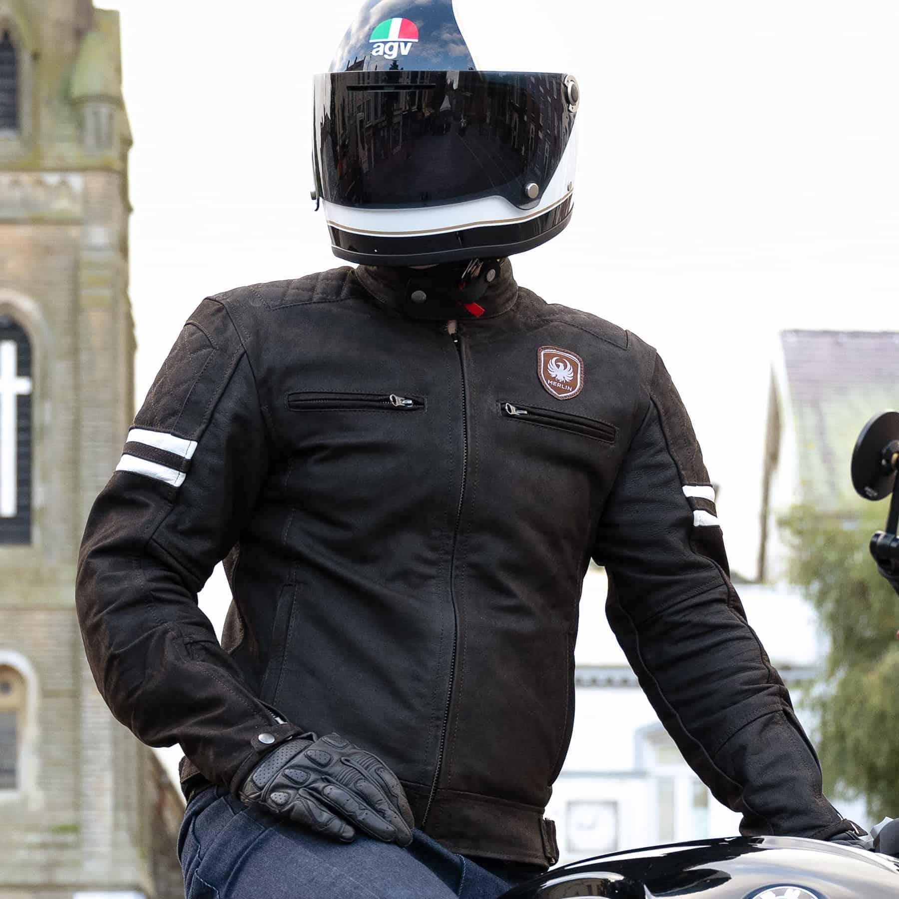 Merlin Hixon leather jacket in brown lifestyle image
