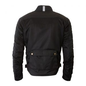 White background image of the back of Merlin Chigwell Utility waxed cotton jacket in black