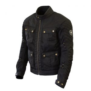 White background image of Merlin Chigwell Utility waxed cotton jacket in black