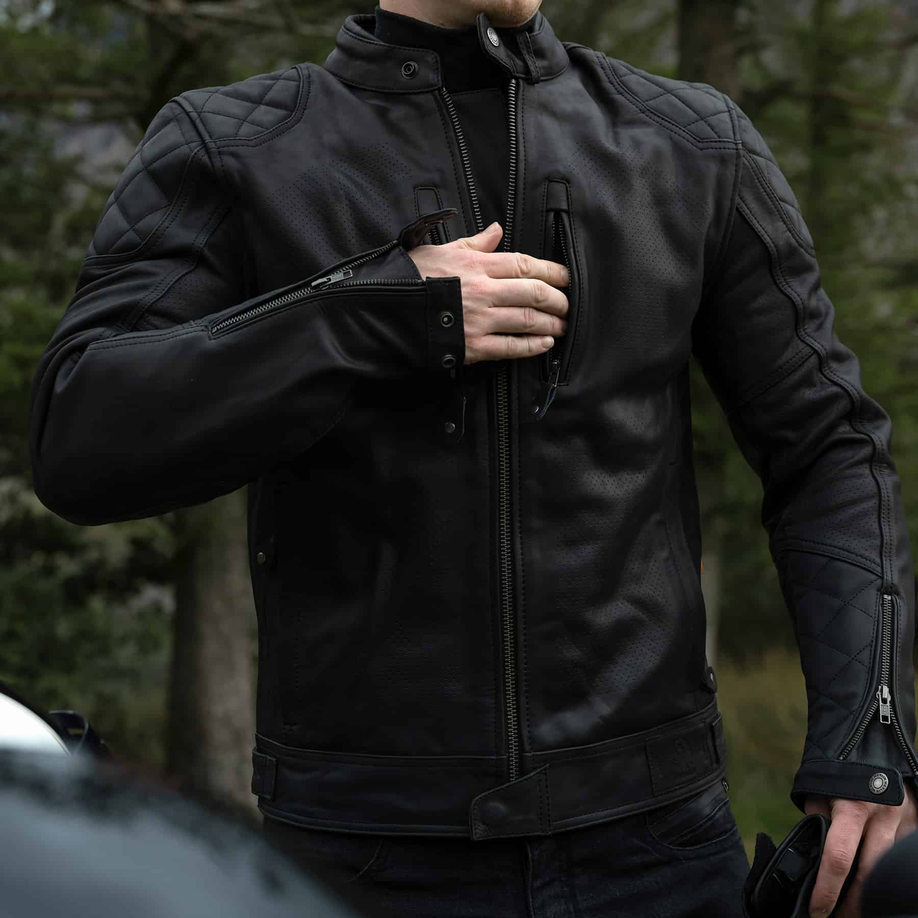 Merlin Cambrian leather jacket in black detail